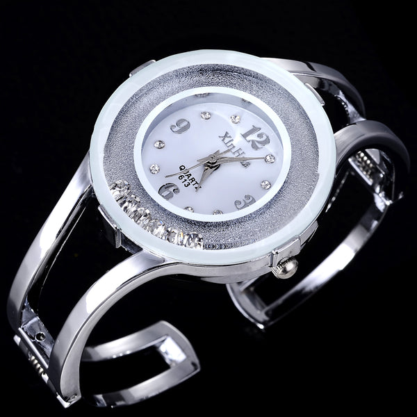 XINHUA Fashion Watches Women Stainless Steel Bracelet Bangle Rhinestone