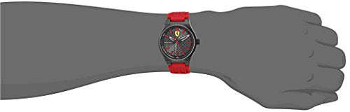 Scuderia Ferrari Men's Stainless Steel Quartz Watch with Silicone Strap, red, 0.55 (Model: 840010)