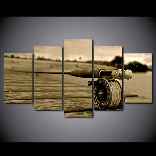 5 Piece Canvas Fishing Rods
