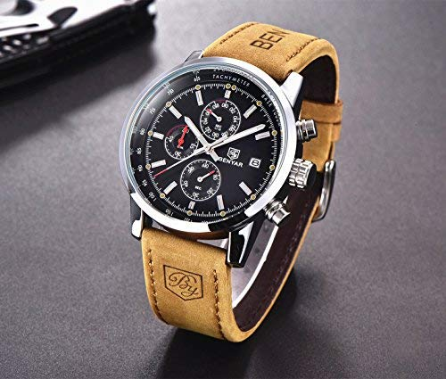 Men Sport Watches Men's Quartz Chronograph Watch Army Military Leather Waterproof Clock Wrist Watch