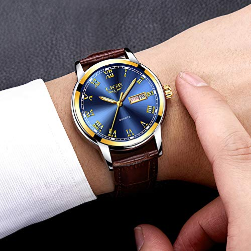 LIGE Mens Watches Fashion Leather Waterproof Anlaog Quartz Watch for Man Casual Business Date Brown Blue Gold Wristwatch