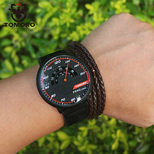 TOMORO Mens Creative Racing Design Black Leather Quartz Analog Sports Watches 1017