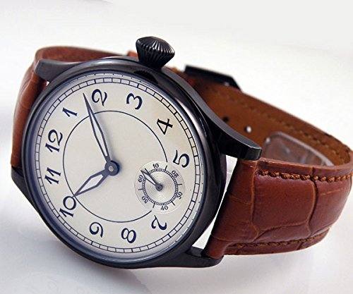 Parnis Black Case Number White Dial Hand Wind Mechanical See-through Back Mens Womens Watch Brown Leather