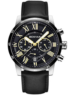 Luxury Chronograph Waterproof BENYAR, Business Leather Black Strap Watch, Quartz Movement Stainless Steel Silver case