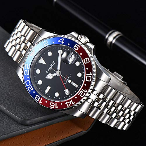 40mm PARNIS Black dial Pepsi Bezel Sapphire Glass Date GMT Automatic Mens Watch