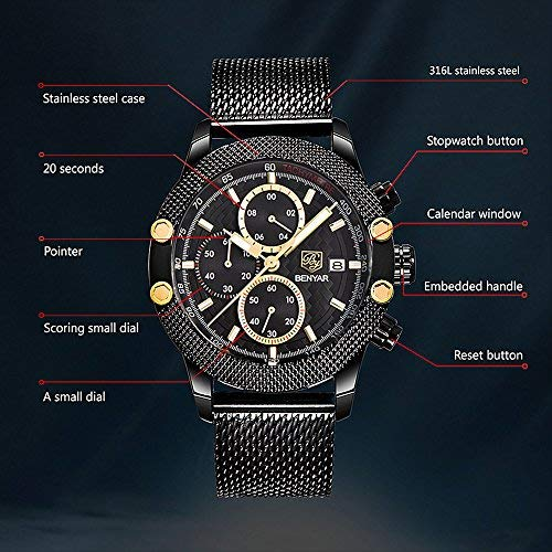 Business Mens Quartz Watch Chronograph Watches Men Display Analog Sport Wrist Watches with Black Steel Milanese Bracelet