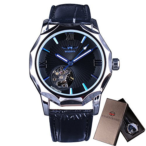 Winner Mechanical Watches Skeleton Blue Ocean Dial Polygonal Design