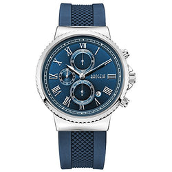 Mens Casual Navy Blue Silicone Watches with Big Blue Dial Stainless Steel Case by Baogela- Chronograph Date Waterproof