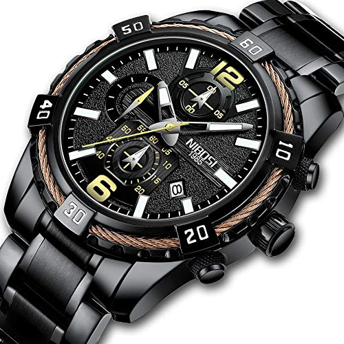 NIBOSI Men's Chronograph Quartz Watch with Stainless Steel Strap Black Wristwatches for Men Calendar Date Watch