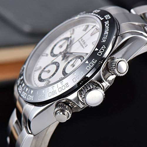 PARNIS White dial Sapphire Glass Solid Full Chronograph Quartz Mens Watch 39mm