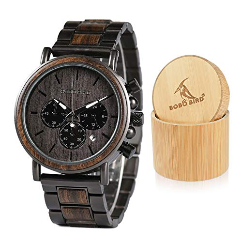 BOBO BIRD Mens Wooden Watches Business Casual Wristwatches Stylish Ebony Wood & Stainless Steel Combined Chronograph with Gift Box (Grey)