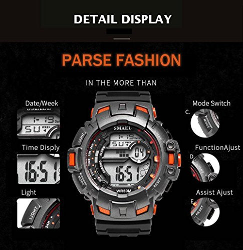Fashion Digital Watch Men Casual Sports Waterproof Mens Watches Top Brand Multifunction Boy Watch (blue)