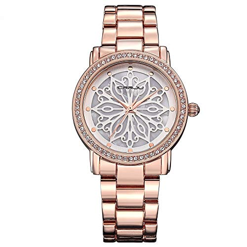 CRRJU Women's Watches Stainless Steel Jewelry Watches Band Round Dial