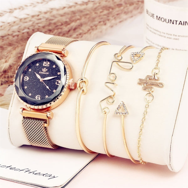 5pc/set Luxury Brand Women  Starry Sky Magnet Fashion Casual Female Wristwatch Roman Numeral Simple Bracelet