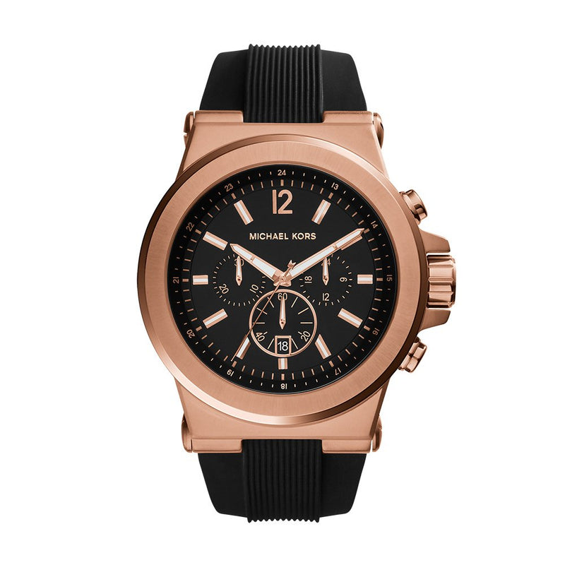 Michael Kors Men's Black and Rose Goldtone Dylan Watch