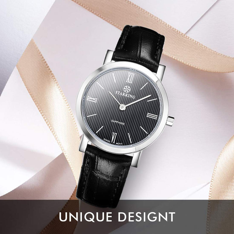 STARKING Watch Ultra-Thin Women Quartz Sapphire BL0897 Leather Band Two Hands Analog Watch Lady Watch Small Size