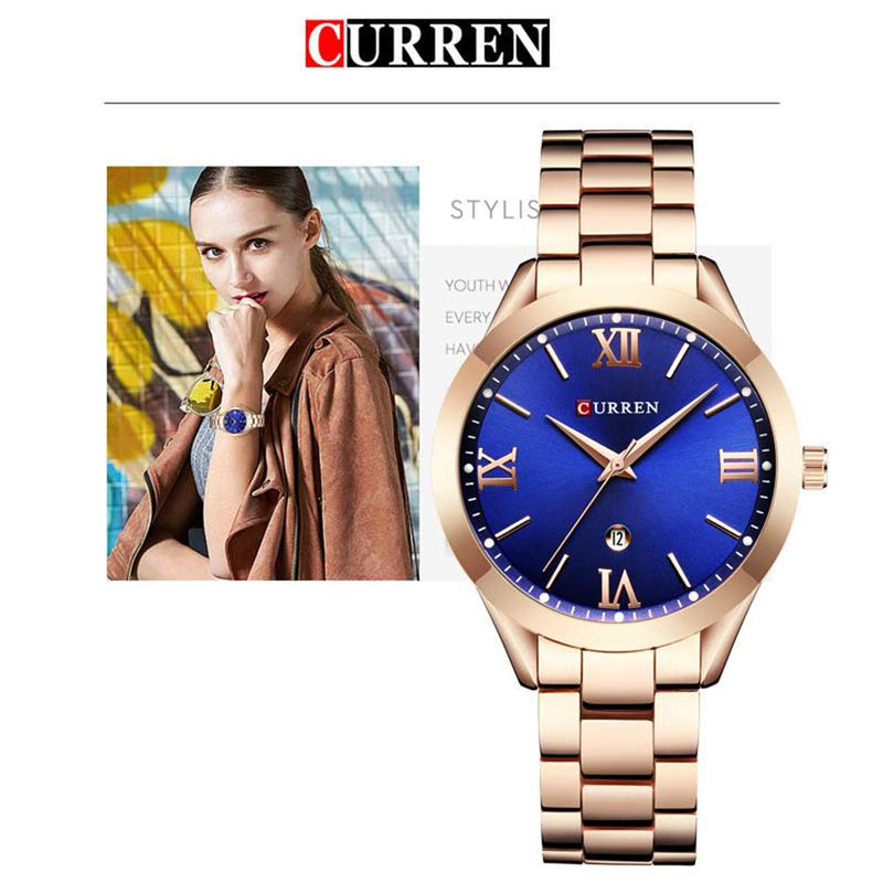 Curren Leather Waterproof Sport Digital LED Watch Army Military Sport Quartz Watch with Muti-Functions Women Watch Gold Green