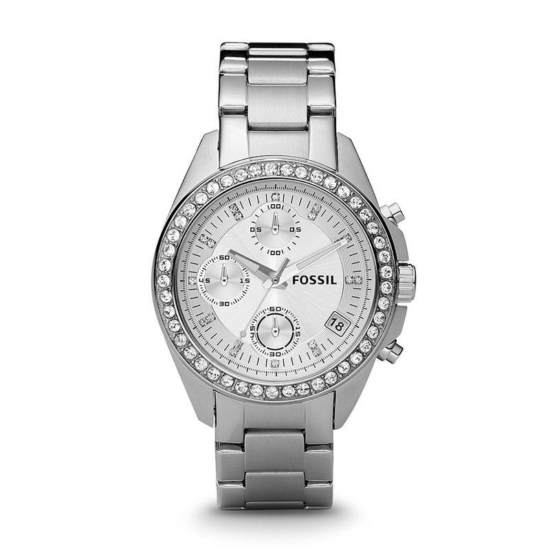 Fossil Women's ES2681 Decker Silver-Tone Stainless Steel Watch with Link Bracelet