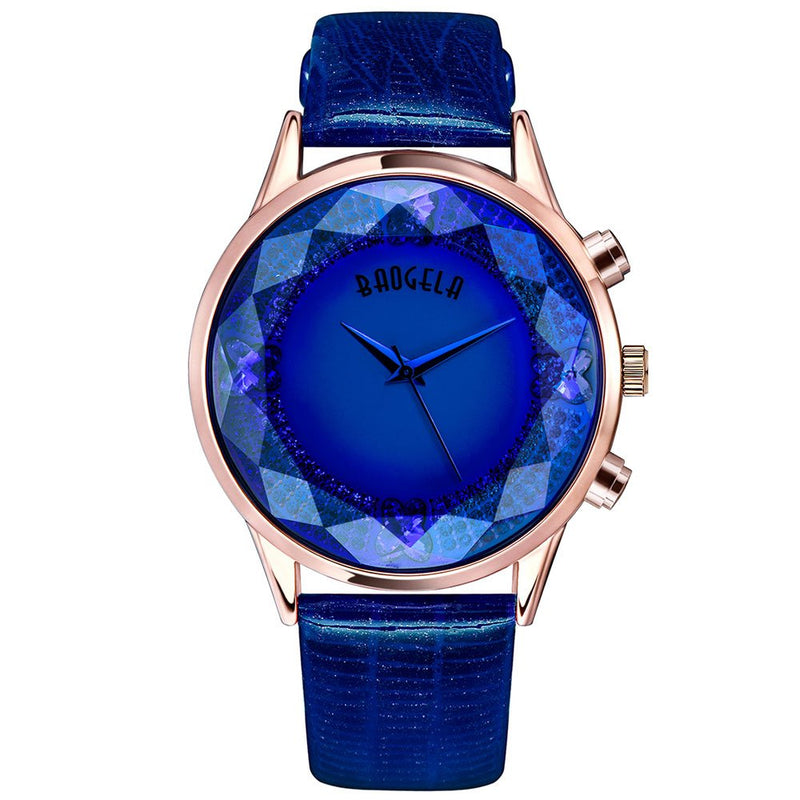 BAOGELA Fashion Fancy Rose Gold Women's Watches - Analog Quartz Water Resistant Wrist Watch - Blue Dial