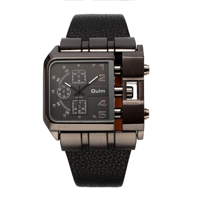OULM 3364 Brand Original Rectangle Unique Design Men Wristwatch Wide Dial Leather Strap Quartz Watch + in Stock (Black)