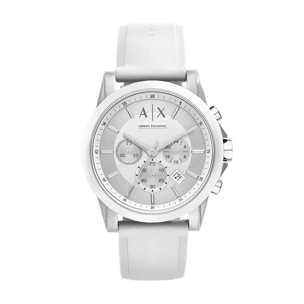 A|X Armani Exchange Men's Silvertone White Nylon with Silicone Straps Watch