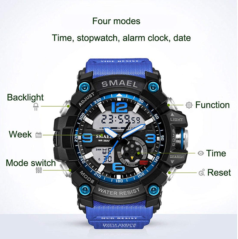 Men's Watches Outdoor Waterproof Military Wrist Watch   LED