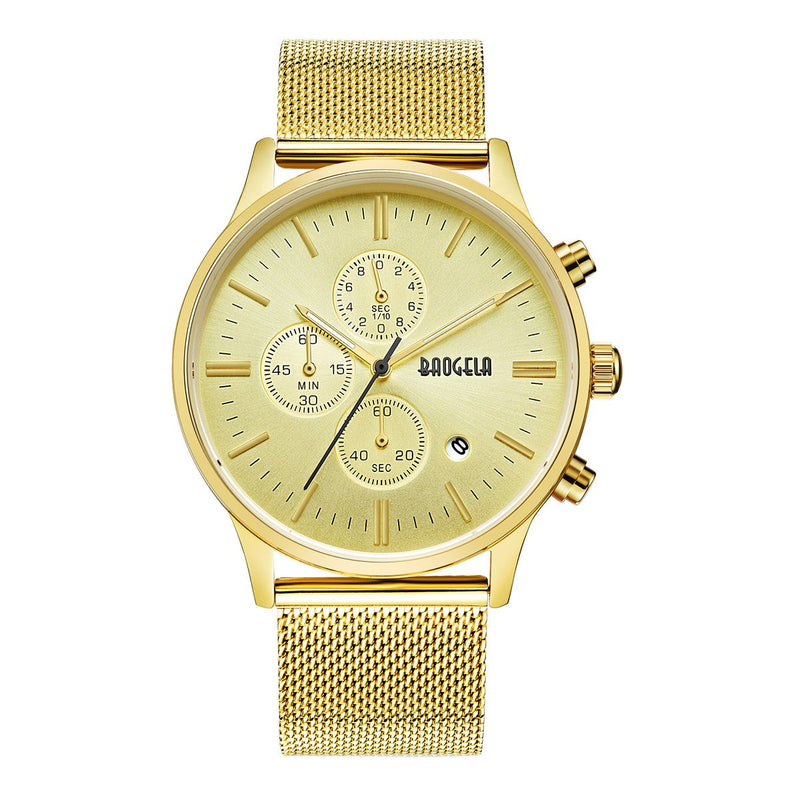 Men's Casual Watch Gold Dial Military Stainless Steel Chronograph Quartz Wrist Watch for Man Baogela