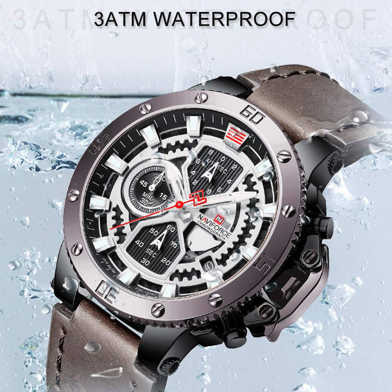 Sport Watches for Men Waterproof Luxury Watch Chronograph Quartz Leather Business Date Clock Wristwatch