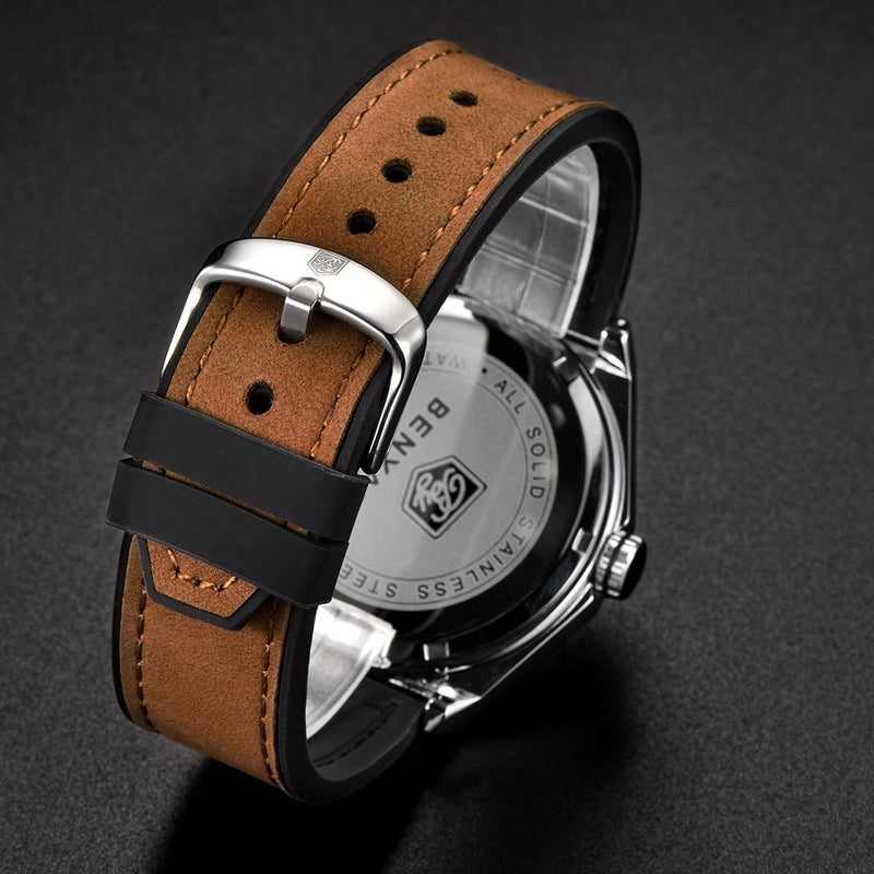 BENYAR Classic Men's Fashion Quartz Watches Gentleman Business Wrist Leather Band Strap Watch for Men
