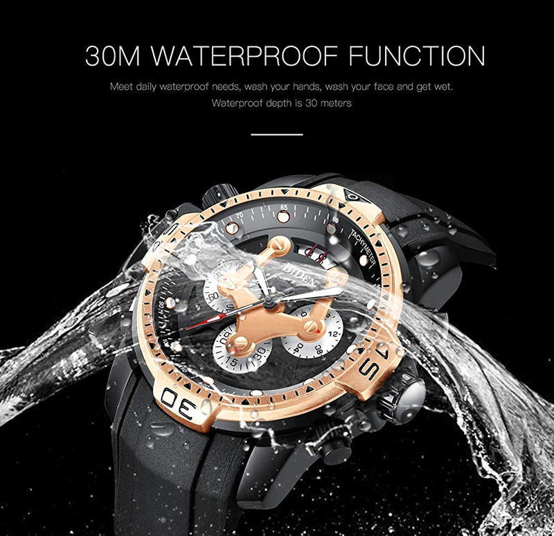 Multifunction Mens Sports Quartz wristwatches Silicone Strap Waterproof Chronograph Calendar Watch