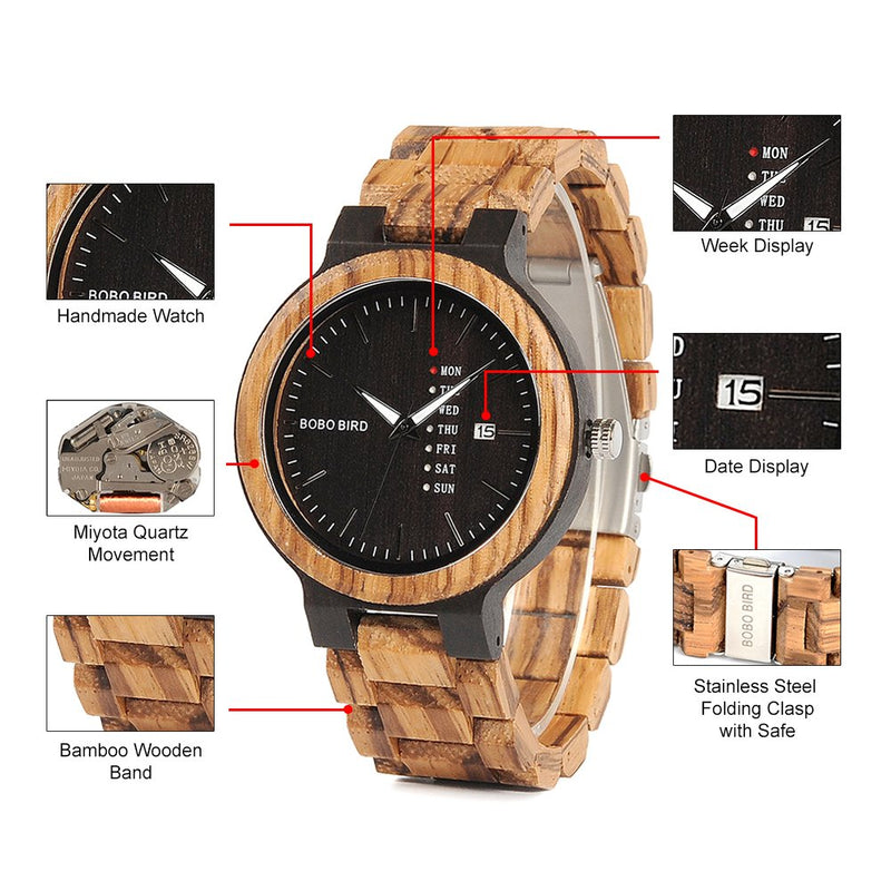 BOBO Bird Week and Date Multi-Functional Display Men's Zebra Wooden Quartz Watch Lightweight Handmade Casual Wristwatches with Gift Box