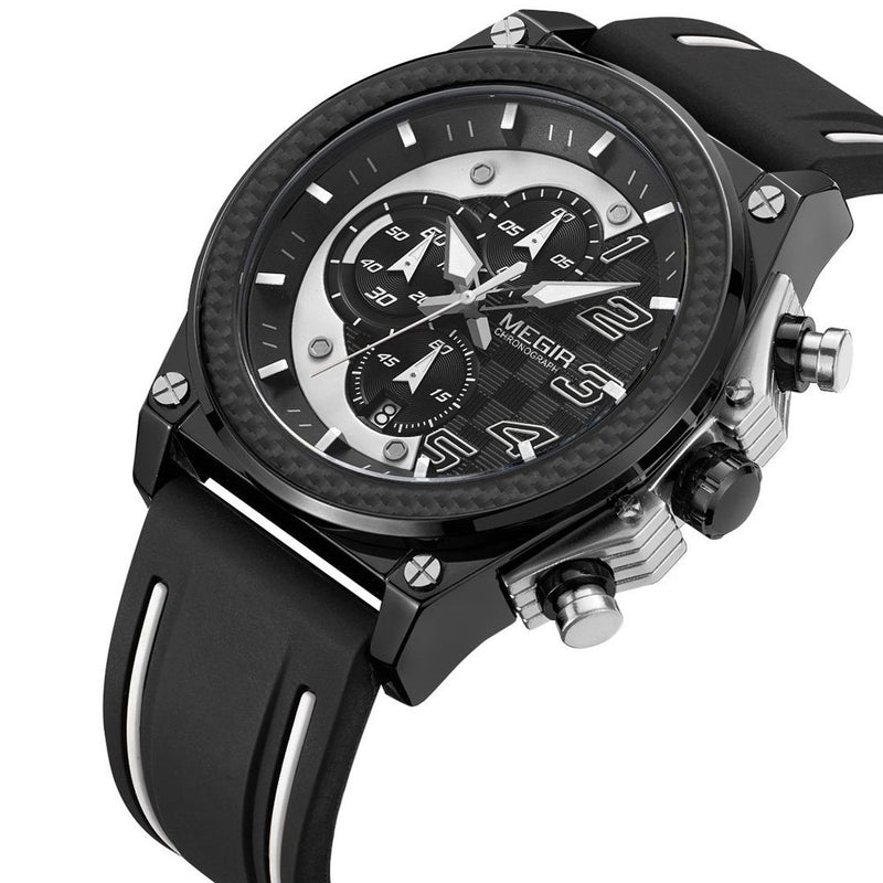 MEGIR Sub-dail Military Sports Watches Chronograph Quartz Analog Wristwatch for Man