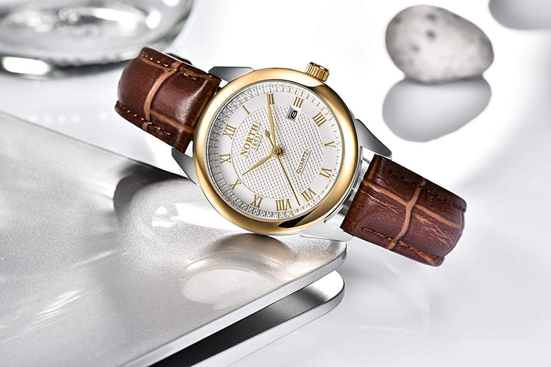 NORTH Womens Quartz Leather Watch Casual Watch Waterproof Analog Gift Watch Classic Roman Digital Watch
