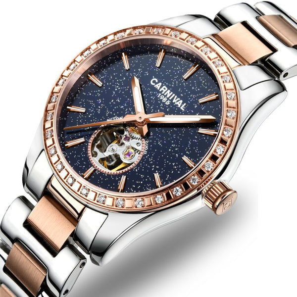 Mechanical Watch Personality Sparkling Stars in The Blue Sky Skeleton Dial
