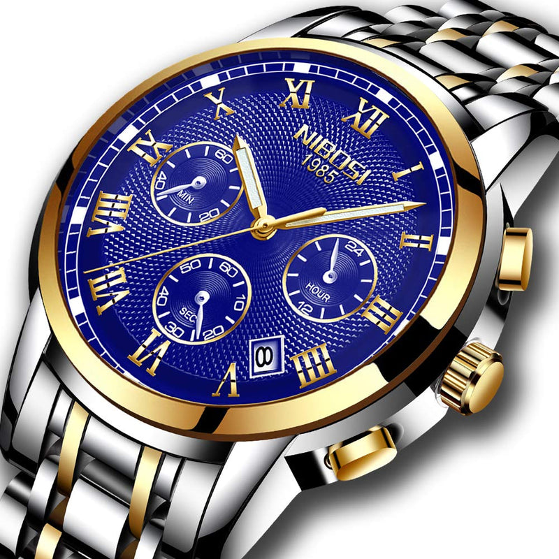 NIBOSI Men's Watches Luxury Fashion Casual Dress Chronograph Waterproof Military Quartz Wristwatches for Men Stainless Steel Blue Calendar Date Watch