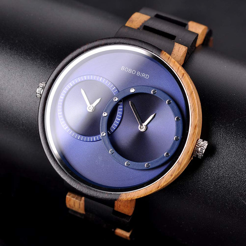 BOBO BIRD R10 Men's Women's 2 Time Zone Wooden Watches Lightweight Luxury Quartz Wristwatches Fashion Design Timepiece for Love