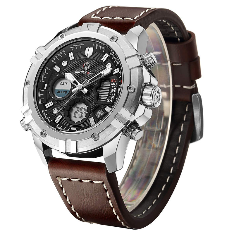 Men Leather Strap Military Watches Men's Chronograph Waterproof Sport Wrist Date Quartz Wristwatch Gifts