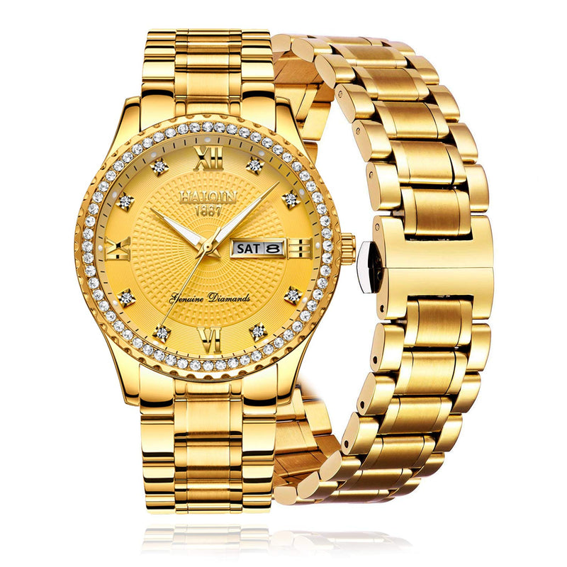 Mens Quartz Watches Luxury Business Wristwatch Stainless Steel Waterproof Classic Gold Watch for Men HAIQIN Clock, Luminous Dial, Gifts