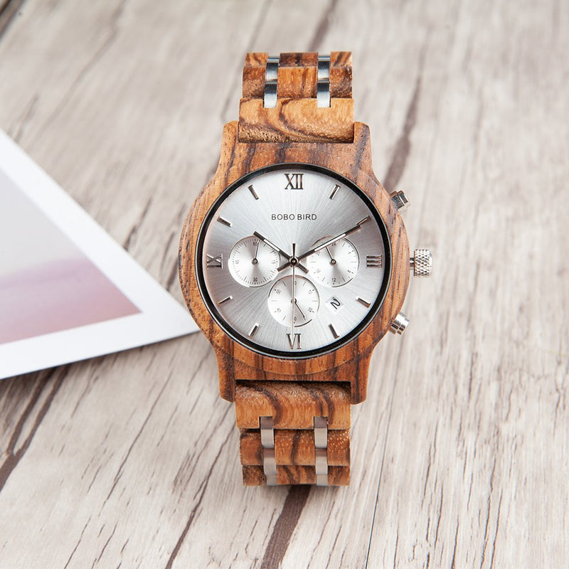 BOBO Bird Mens Wooden Watches Luxury Wood Metal Strap Chronograph & Date Dispaly Quartz Watch Versatile Male Timepieces