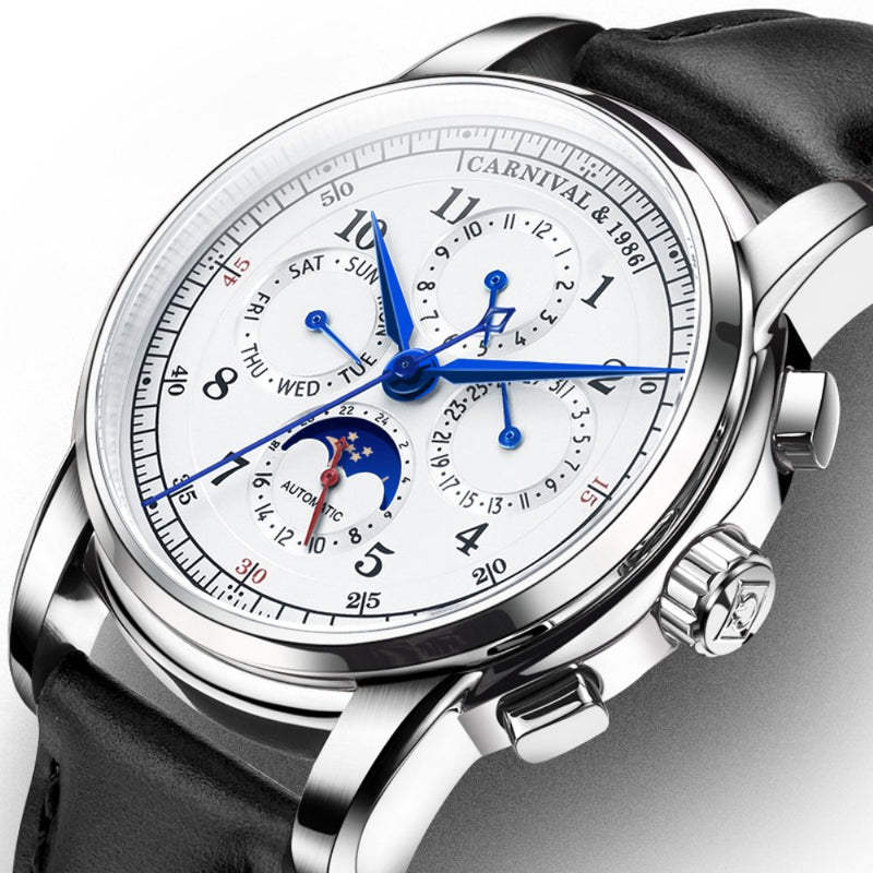 CARNIVAL Men's Complications Calendar Moon Phase 24-Hours Analog Automatic Mechanical Watch Calfskin Band