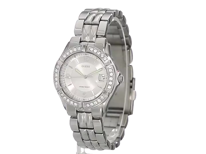 GUESS  Silver-Tone Bracelet Watch with Date Feature. Color: Silver-Tone (Model: G75511M)