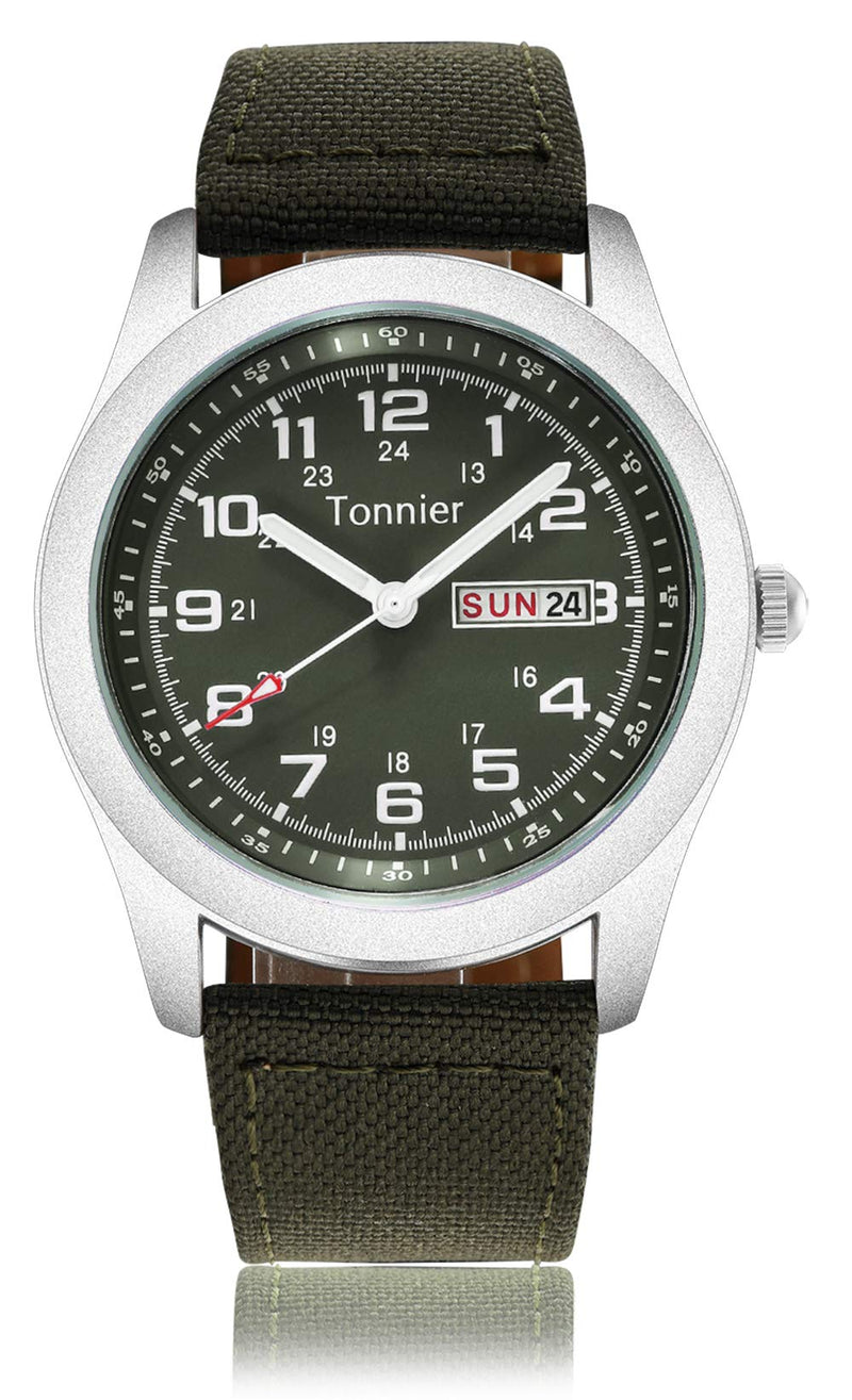 Tonnier Men's Weekender&Calendar Analog Canvas Strap Mans Watches