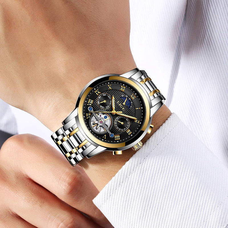 LIGE Men's Business Casual Chronograph Quartz Waterproof Wristwatch Black Stainless Steel Strap