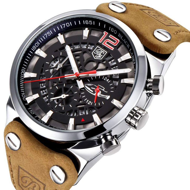 BENYAR Cool Men's Quartz Chronograph Waterproof Watches Sport Military Brown Leather Strap Wrist Watch