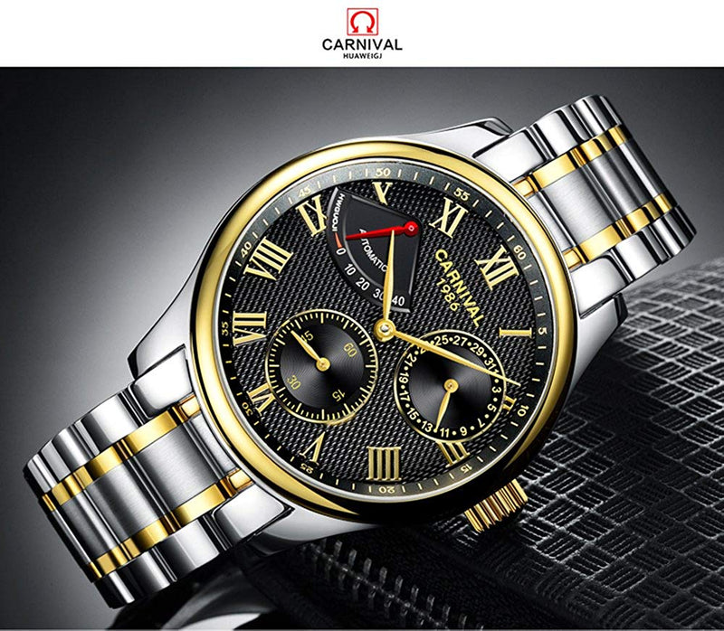 Carnival Men's Automatic Watch Gold Stainless Steel Case Band Waterproof Power Reserve White dial Watches