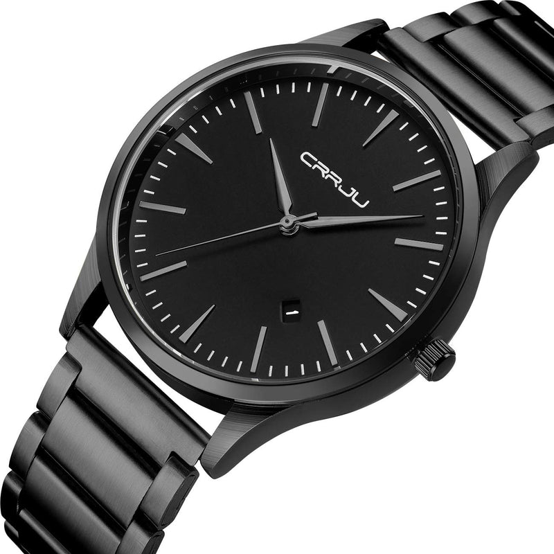 CRRJU Men's Fashion Stainless Classic Watch with Black Steel Band Watches for Men