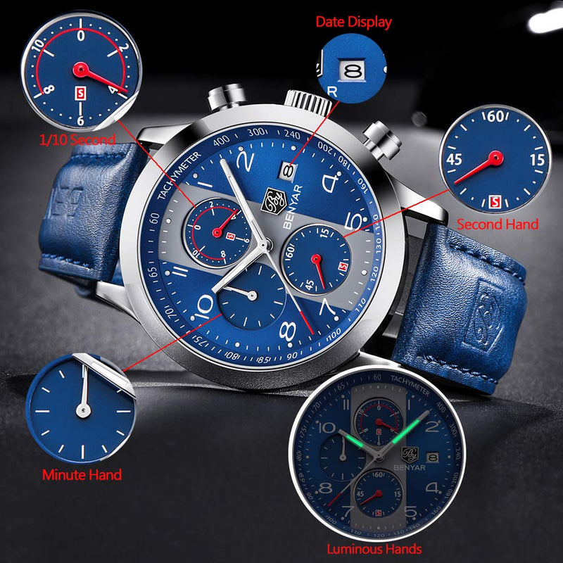 New Fashion Chronograph Quartz Watches for Men Leather Business Watch Waterproof Calendar Clock Casual Sports Watch Military Wristwatches, Luminous Hands, Gifts