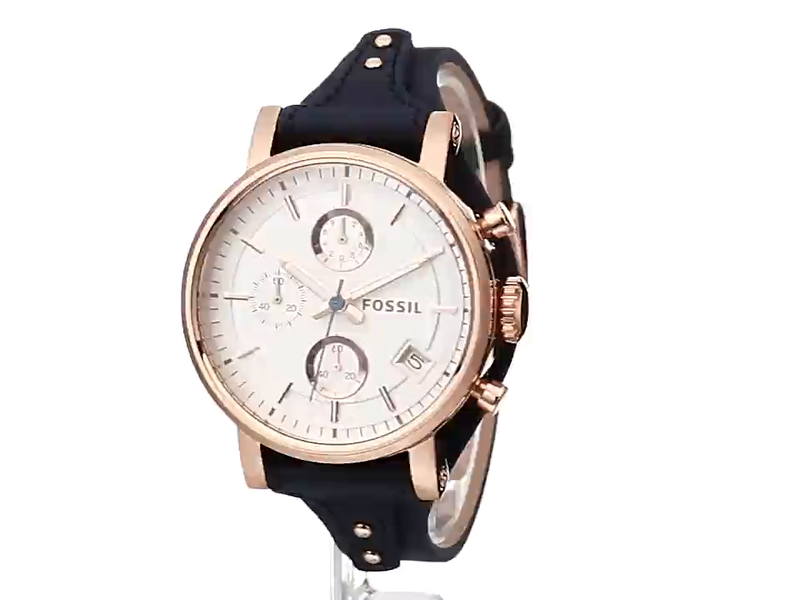 Fossil Women's Original Boyfriend Stainless Steel and Leather Chronograph Quartz Watch