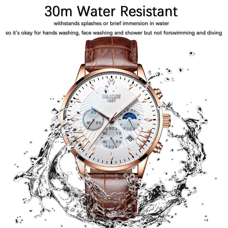 Men's Watches Business Analog Quartz Wristwatch 3ATM Waterproof Sports Watch for Men Stopwatch New Leather Strap Clock, Chronograph, Luminous Pointers, Outdoor, Gifts