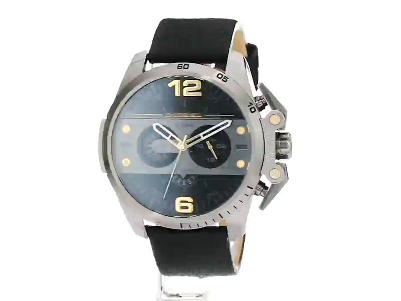 Diesel Men's DZ4386 Ironside Gunmetal Black Leather Watch